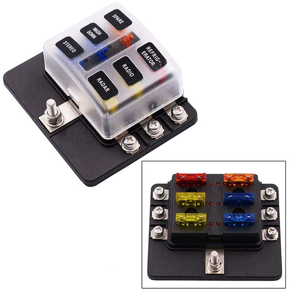 Ywillink 6 Way UTV Blades Fuse Box Block Cover 12V with LED Indicators for Car Auto Boat Bus