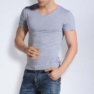 High quality plain v neck 100% cotton sport men gym fitness t shirt