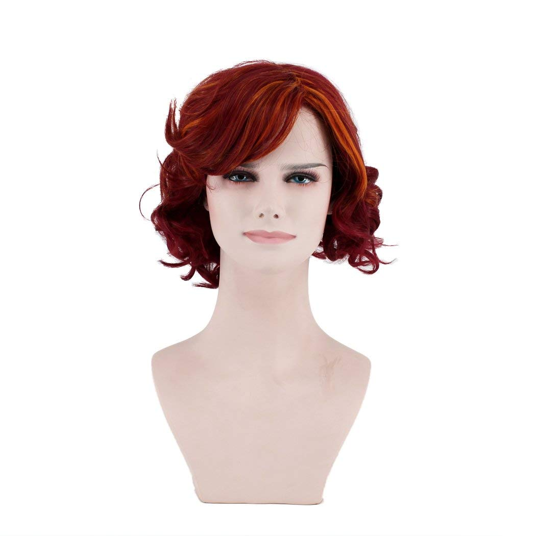 OUO HAIR Wig Women's Wig Short Hair Curls Mixed Red Fashion Wig Fiber Wig (Red)