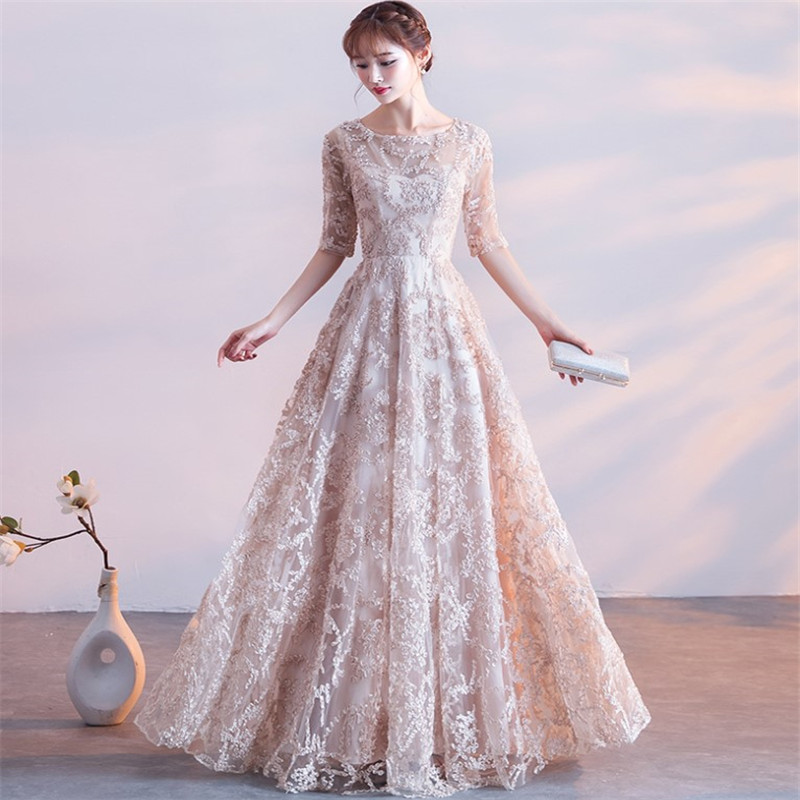 2019 latest formal party evening dress scoop neck 3/4 sleeves lace vestidos de fiesta evening gowns