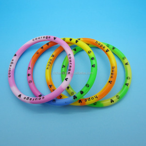 Printing texts tie dye colors 5 mm thickness O ring Silicone Rubber Bracelet Band