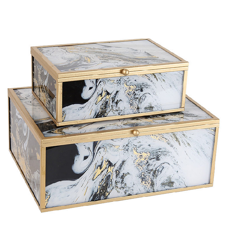 Electroplating Process Brass Edging Glass marble Jewelry Box
