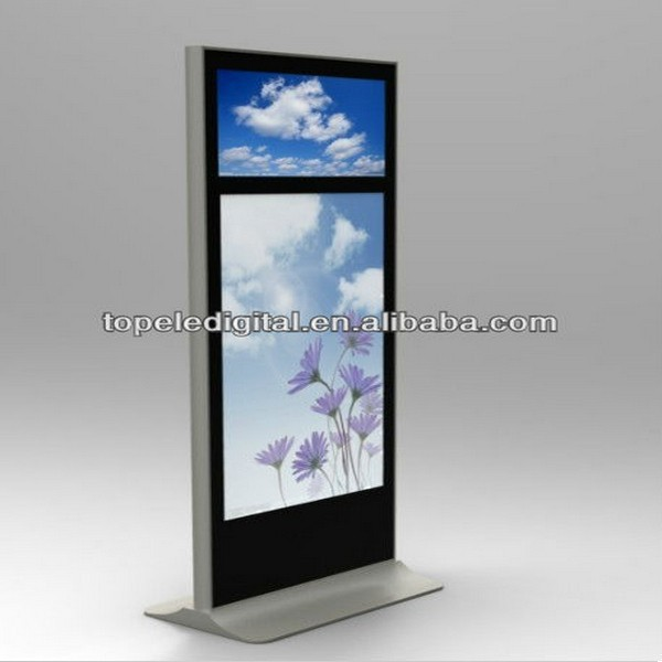 Fashion 55+32 inch indoor floor standing dual screen touch lcd marketing kiosk for clothes shops jewellery shops beauty salon