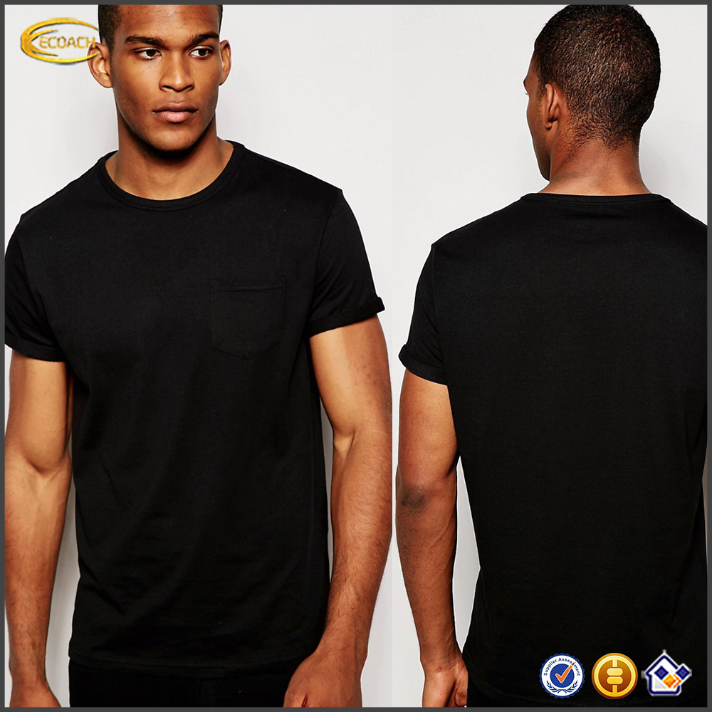 Ecoach wholesale t shirts free samples 100% Cotton roll Sleeve men's black new model t shirts