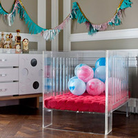 multifunction adjustable clear lucite baby cot toddler bed acrylic crib