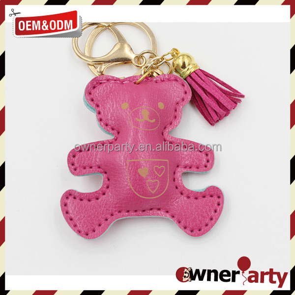leather bear key chain customized bag purse charms car brand logo keychain manufacturers in china