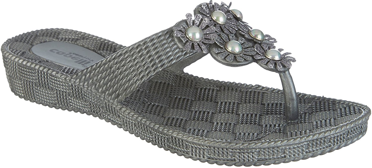 Capelli New York Woven textured injected hooded thong with glitter faux leather flowers Ladies Flip Flop