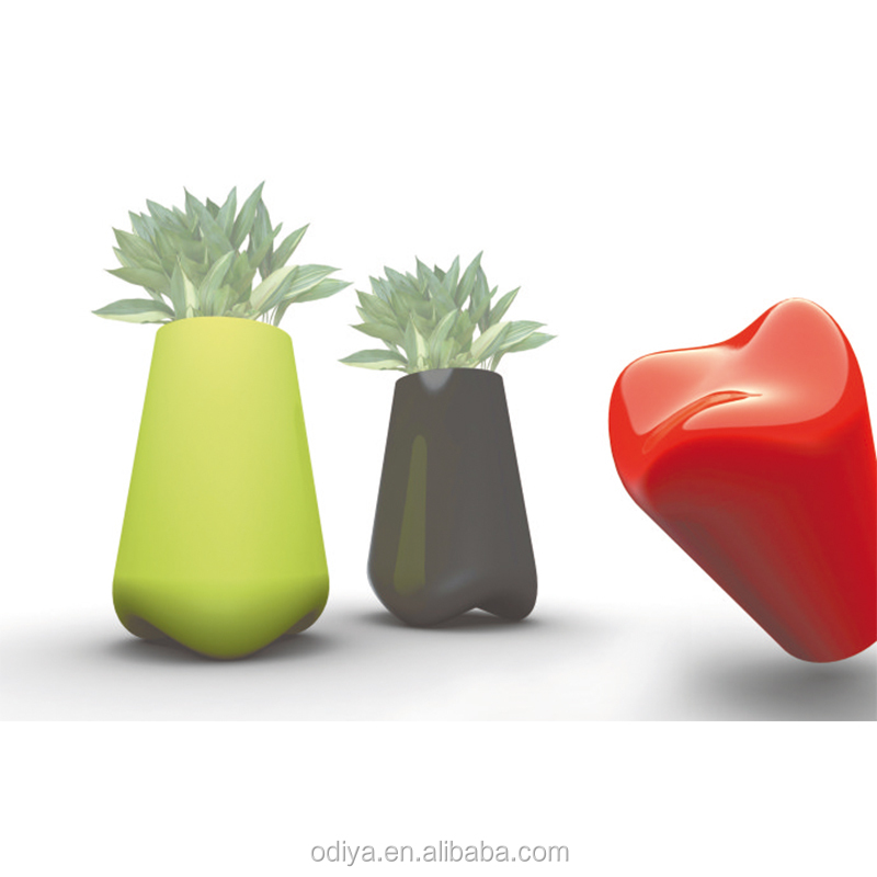 modern colorful fiberglass flower pot three-in-one