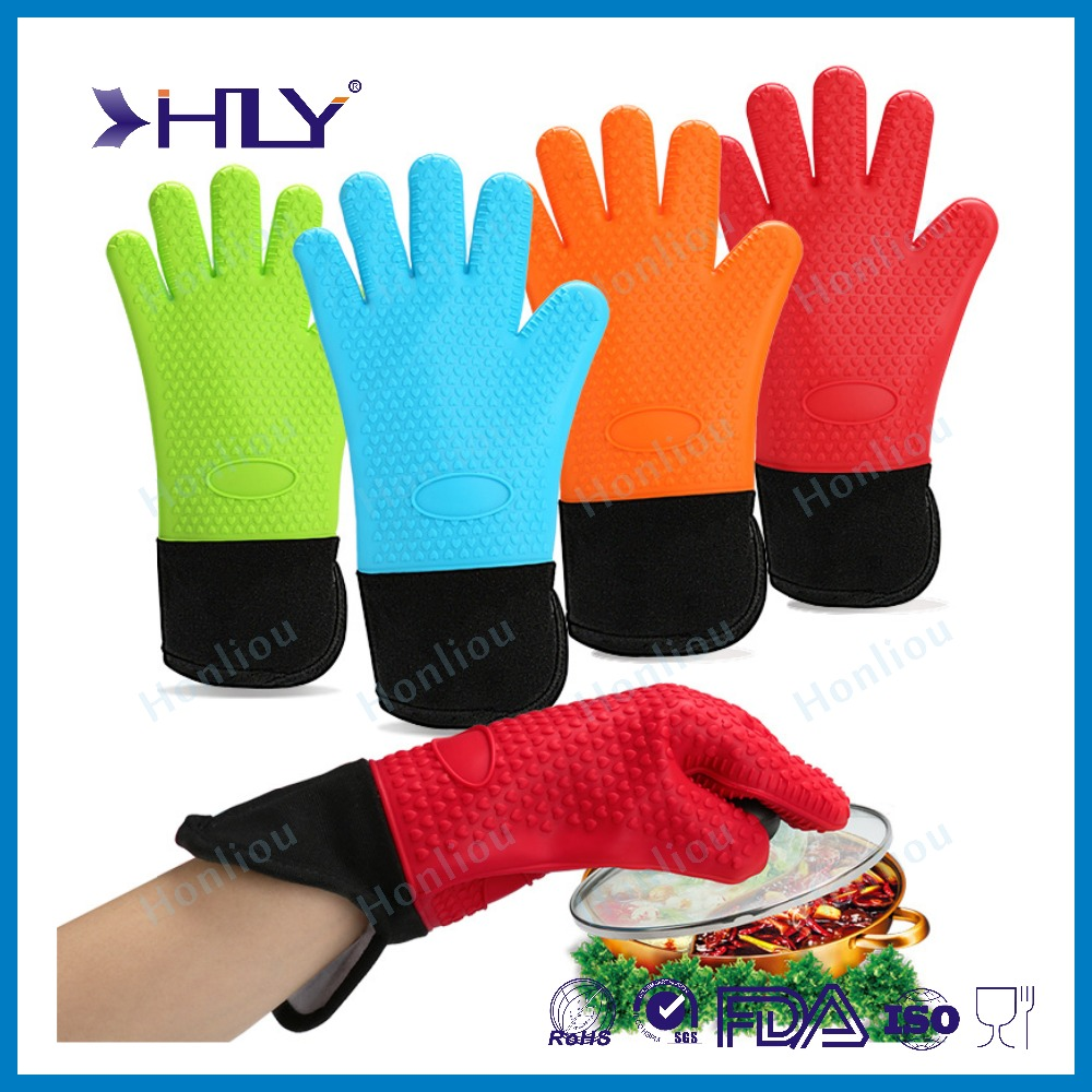 Heat Resistant Silicone oven Gloves 5 Fingers Design silicone bbq gloveswith cotton inside