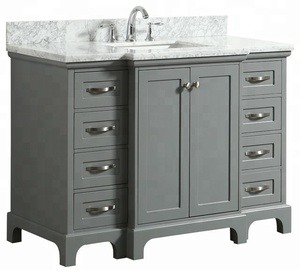 Yongfeng Stone High Quality Italy Bianco Carrara Marble Stone Bathroom Vanity Unit Top Wooden Basin Cabinet UPC Ceramic Sink