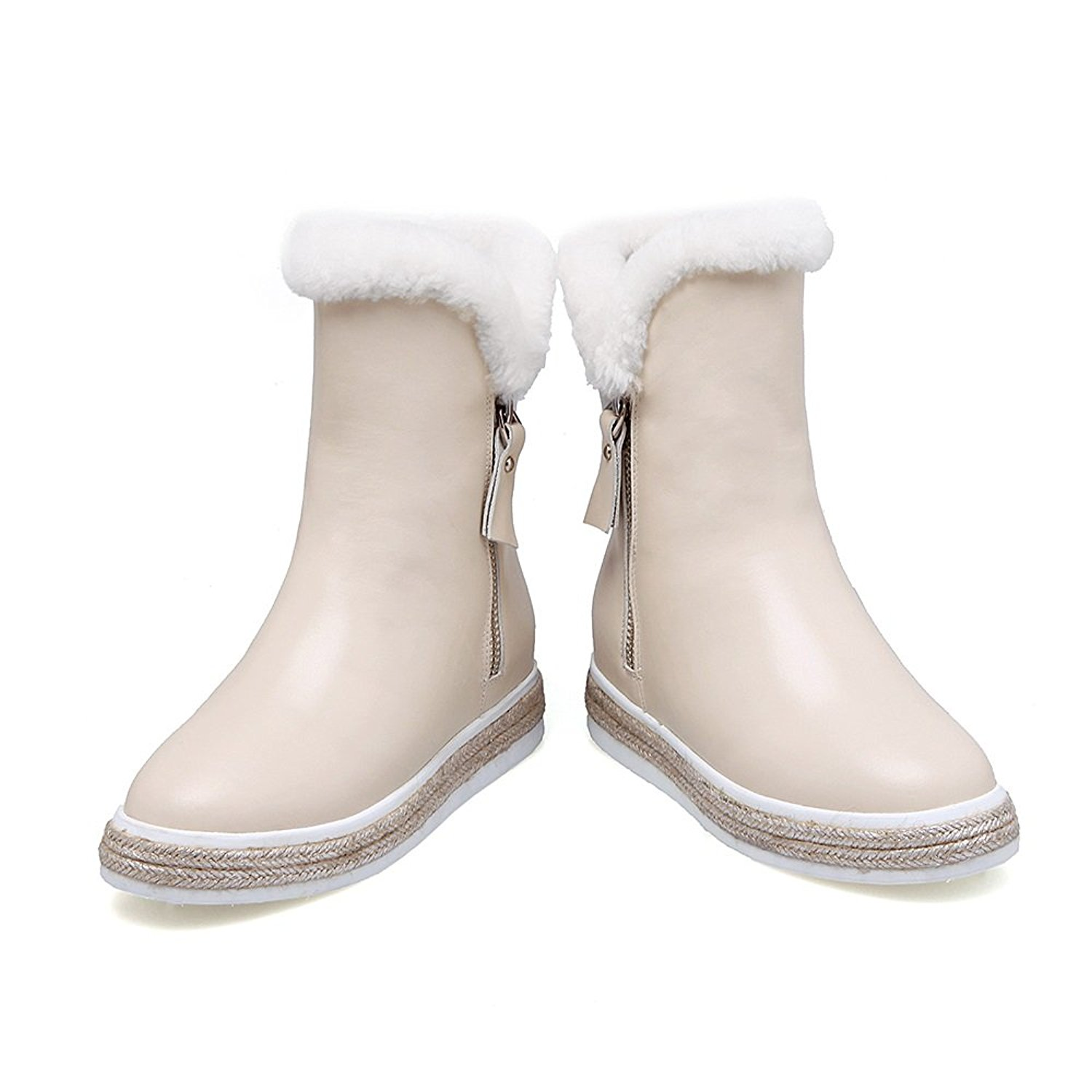 VogueZone009 Womens Closed Round Toe High Heels PU Rabbit Hair Short Plush Solid Boots with Platform