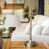 Electric Power Source and Modern Style Table Lamps Fabric Lamp Shade Metal Base