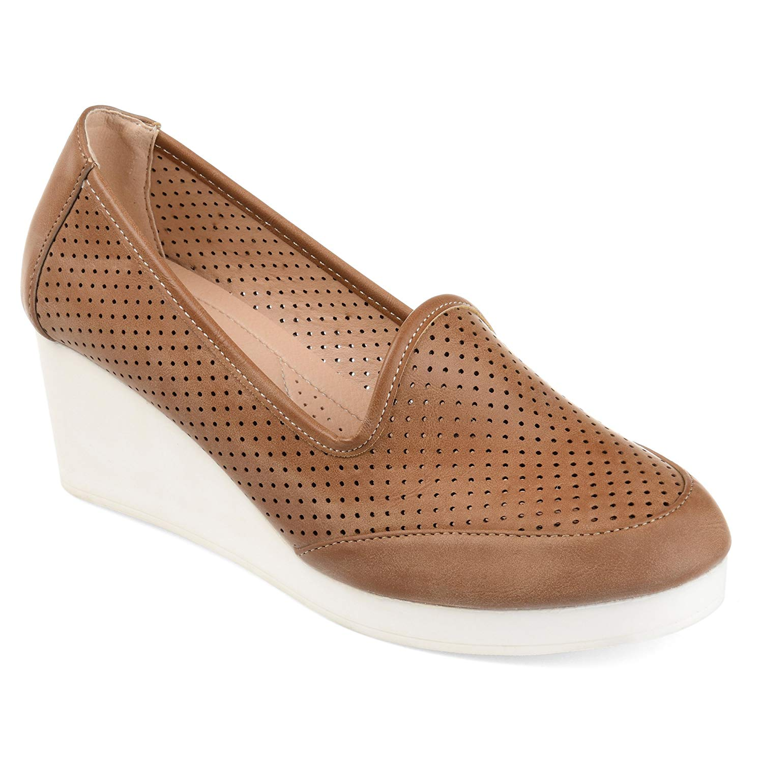 aebf9a49c2e Get Quotations · Journee Collection Womens Comfort Sole Lightweight  Laser-Cut Wedges