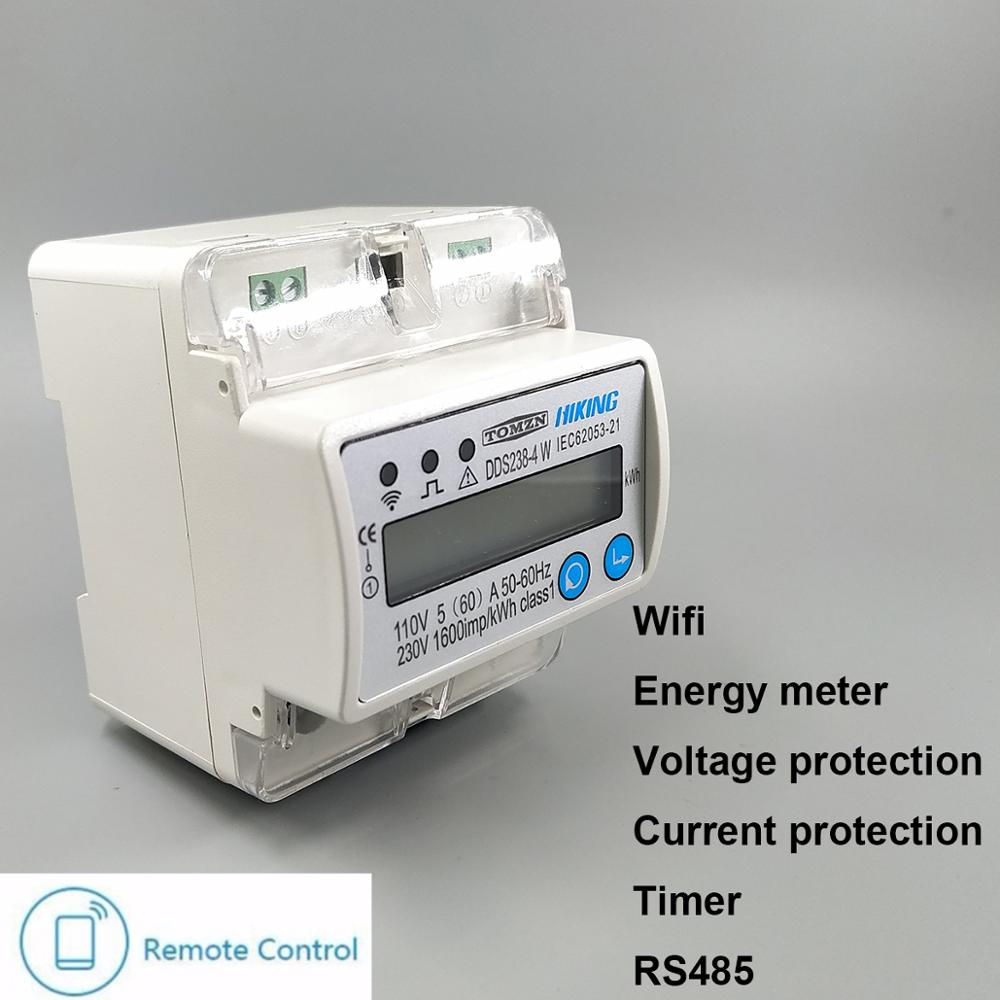 5(60)A 110V 230V 50HZ 60HZ Single phase Din rail WIFI smart energy <strong>meter</strong> over and under voltage current protection RS485