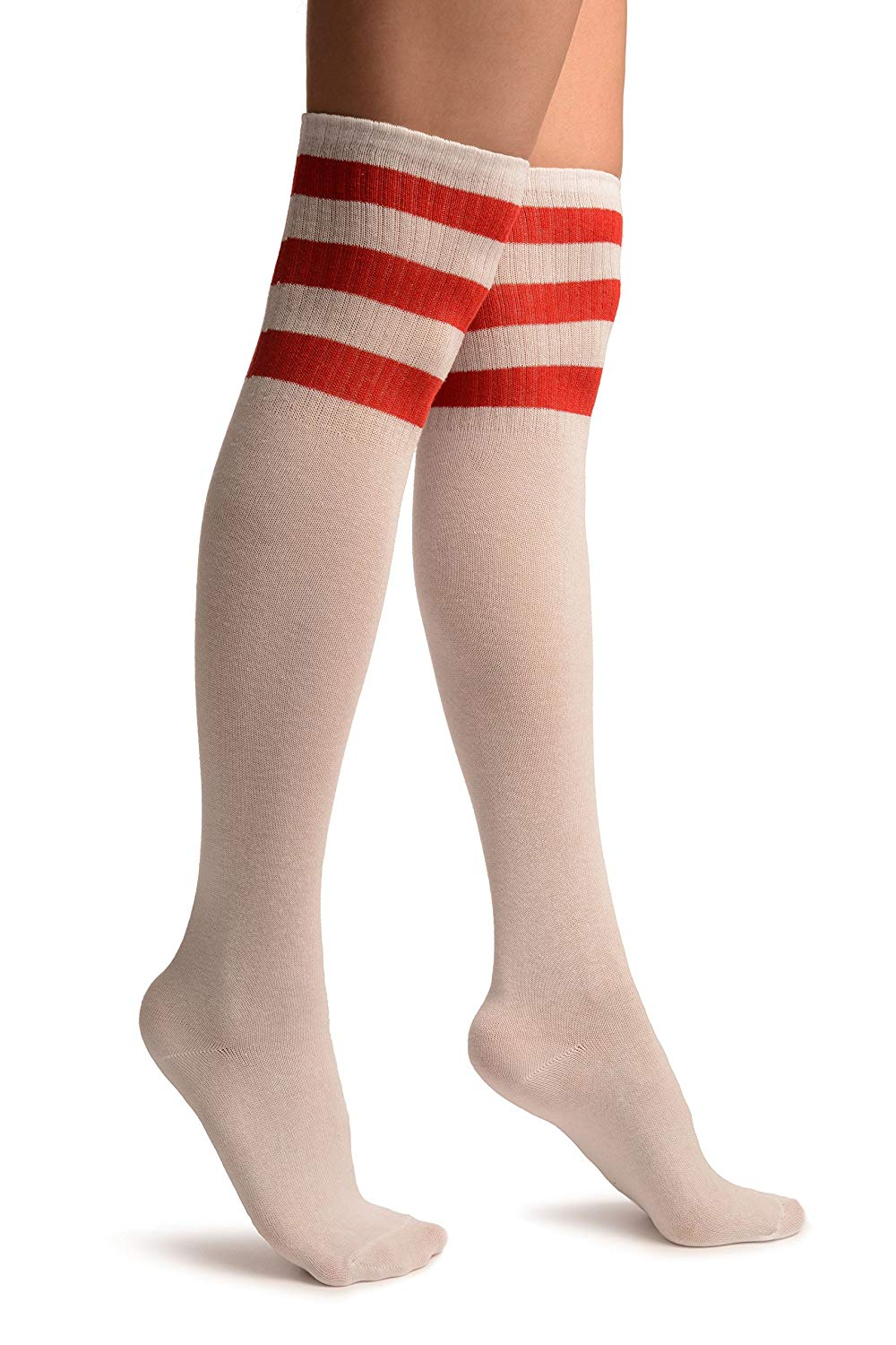 5d8600d9249 Get Quotations · White With Red Stripes Referee Knee High Socks - Socks