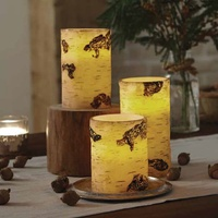 Artificial hand paint Birch LED Flameless Pillar Battery Operated Candle light Set of 3