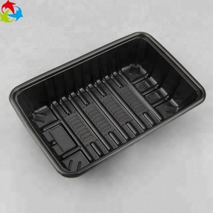 Black PS Custom Biodegradable Plastic Disposable Food Tray
