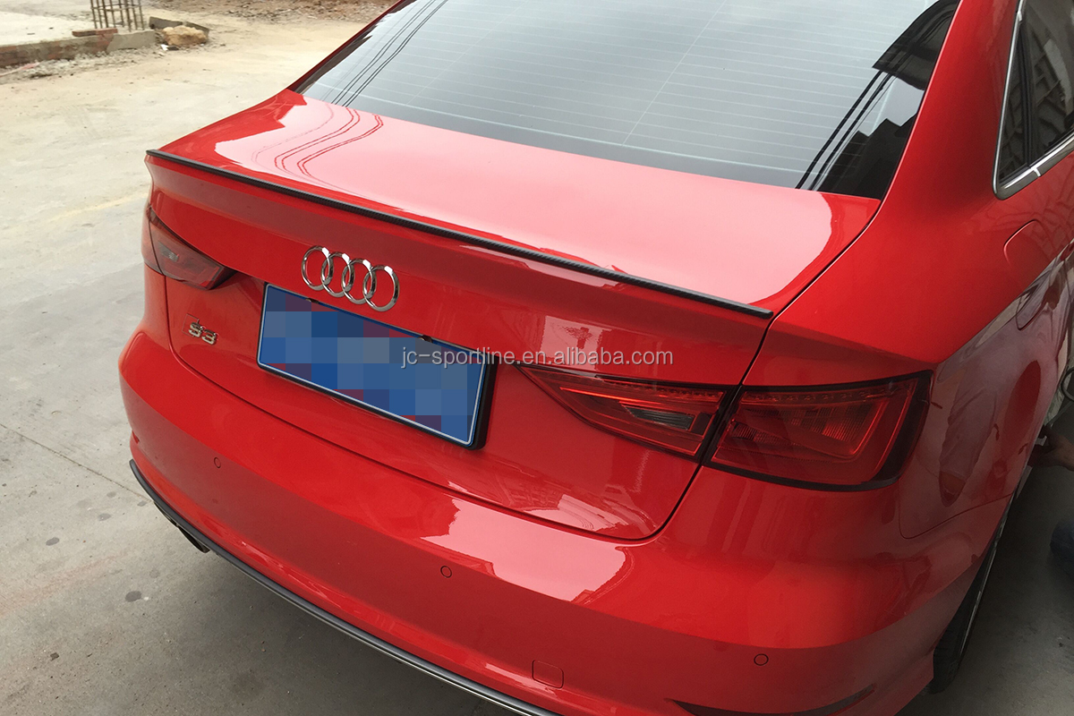 14 18 Carbon Fiber A3 Rear Ducktail Spoiler For Audi A3 S3 4d Sedan Saloon Car Buy A3 Ducktail Spoiler A3 Rear Ducktail Spoiler Spoiler For Audi A3