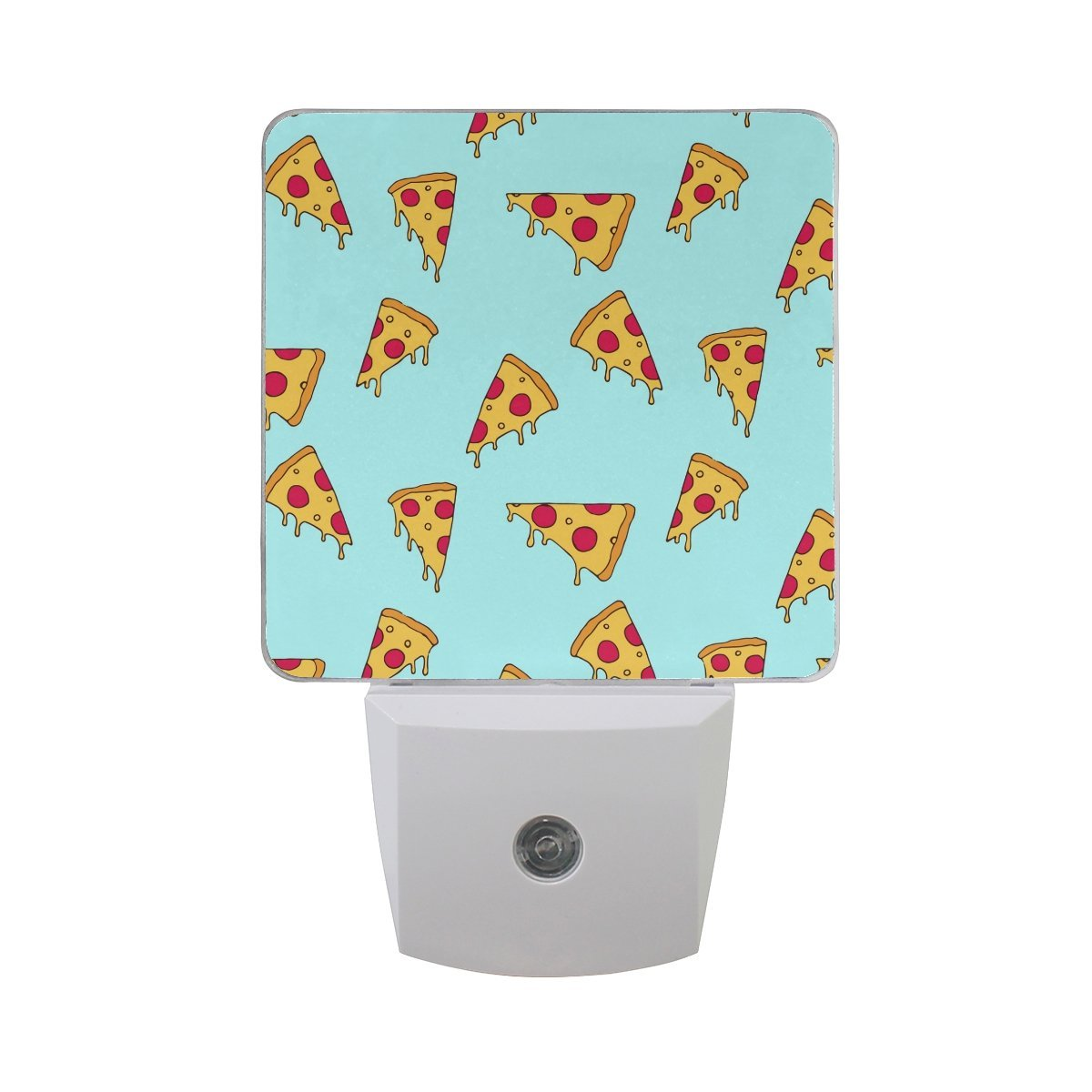 Naanle Set of 2 Pizza Slice Pattern On Blue Background Auto Sensor LED Dusk To Dawn Night Light Plug In Indoor for Adults
