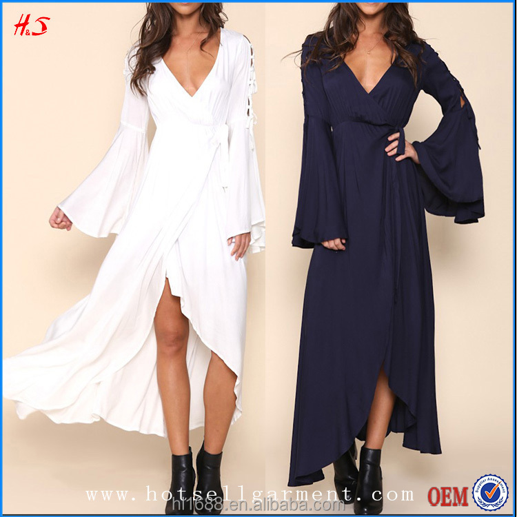 Elegant Fashion Wrap Design Bell Sleeved Maxi High Quality Dresses Latest Women Dresses