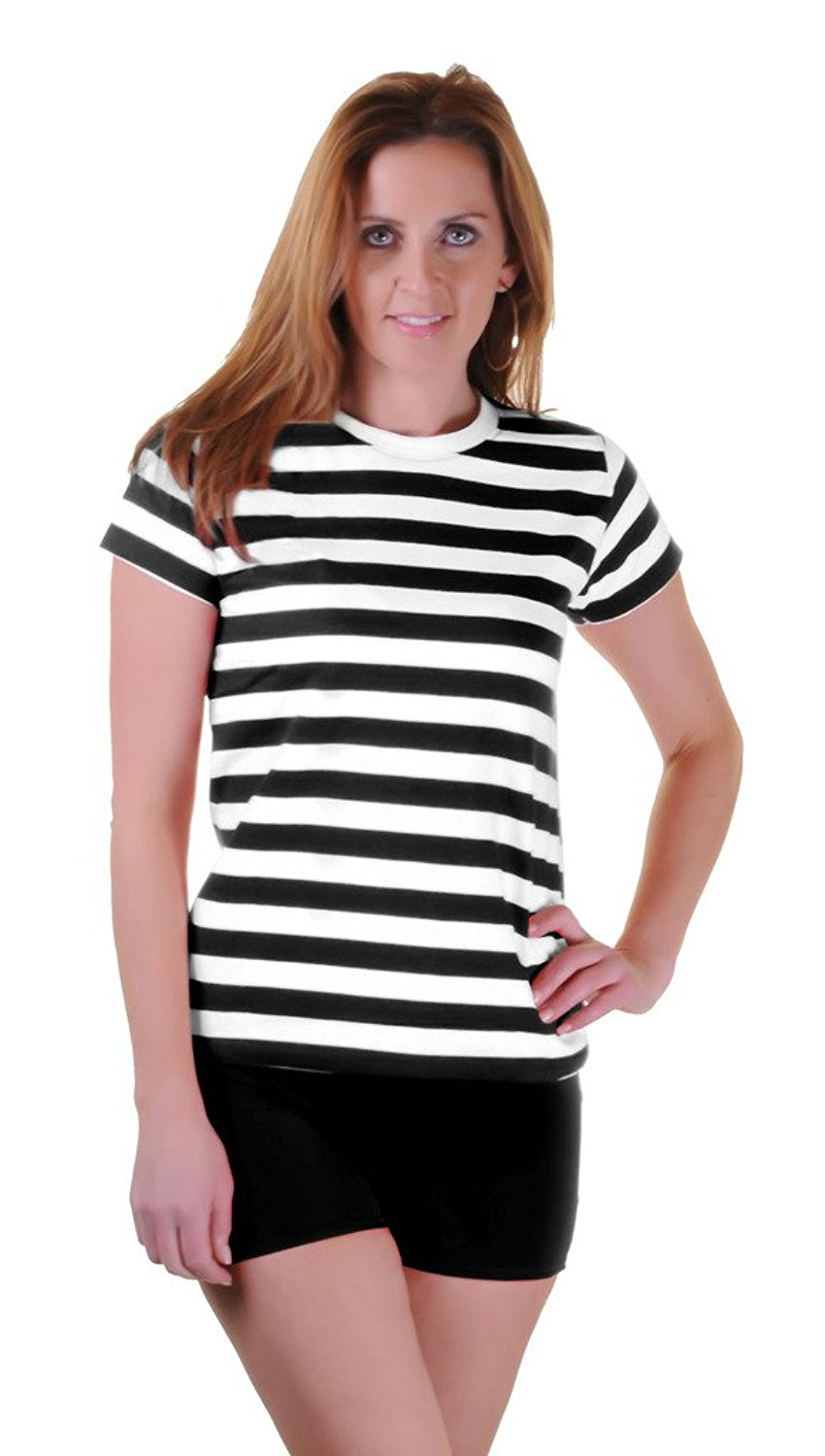 Rimi Hanger Womens Black Red Blue And White Striped Book Week T Shirt Fancy Top Lot (S, M, L, XL)