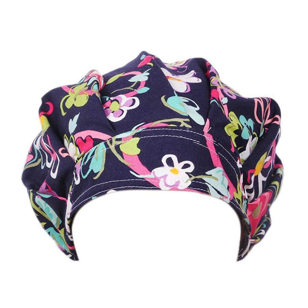 Get Quotations · starlit Women s Floral Print Scrub Cap Hospital Medical  Surgical Surgery Hat for Doctor Nurses 68948074e05
