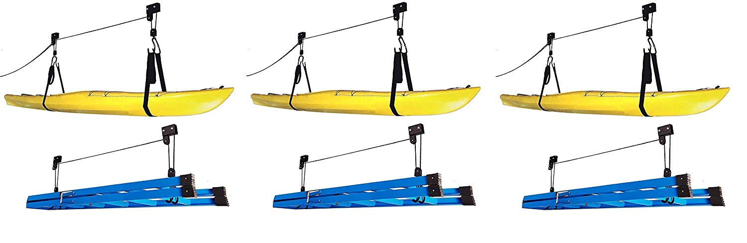 RAD Sportz Kayak Hoist Quality Garage Storage Canoe Lift with 125 lb Capacity Even Works as Ladder Lift Premium Quality Pulley System (3 X Pack of 2)