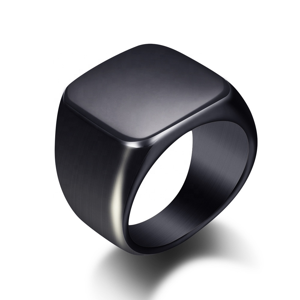 316L stainless steel ring black square smooth titanium steel men and women gold rings, Steel black gold blue or custom colors