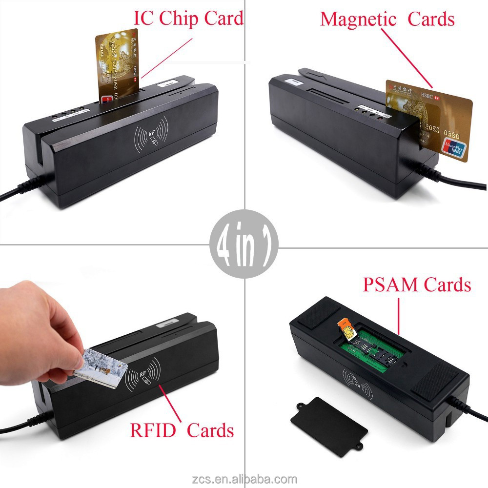 ZCS80 4-in-1 USB driver EMV Smart credit card reader & writer IC Magnetic Stripe RFID NFC PSAM Reader &Writer