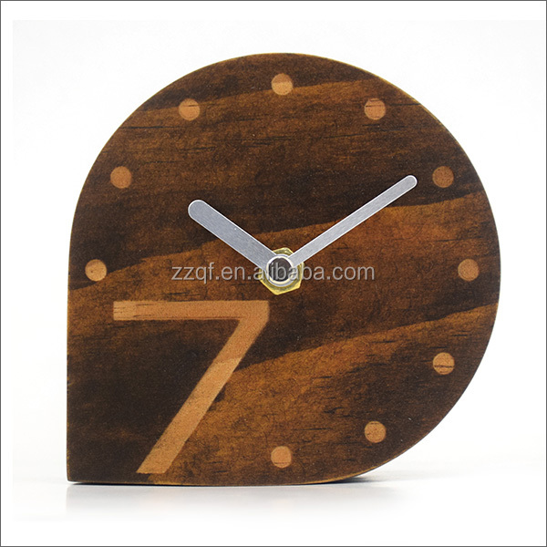 Brown color Unique shape clock small round wooden table clock without alarm