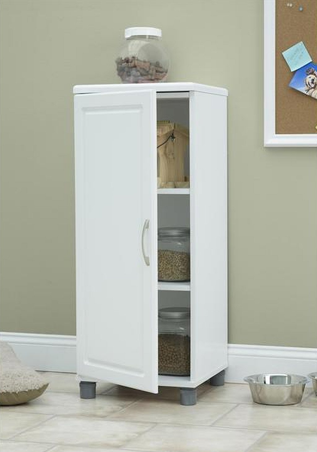 16-inch White Kendall Stackable Storage Cabinet, Storage Cabinets (overall) 38.25Hx15.69Wx15.38D/ 43 lb