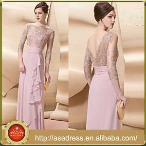 VL168 Elegant Light Pink Mother of The Bride Dresses Three Quarter Low Back Sleeve Vestido Madre Novia