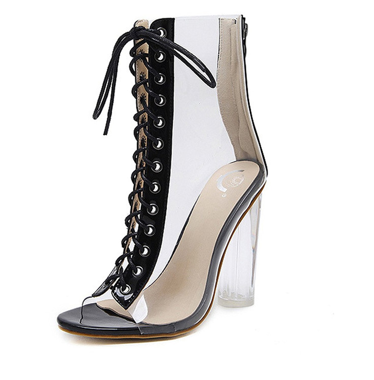 JOYHUI Womens Sexy Dress Shoes -Thick Heel With Transparent With Peep-Toe Bandage Rome Fashion Sandals Zipper Transparent High Heel Sandals