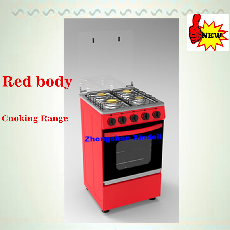 New cheap Model 4 gas burners Freestanding gas Range Oven with Brass Burnercap copper grill mats