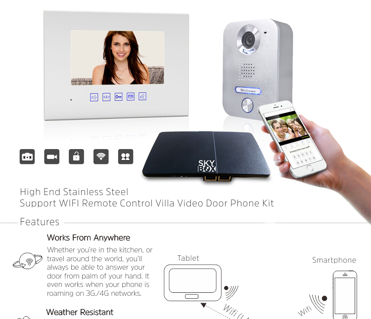 Two way intercom and remotely unlock door wifi wireless intercom system for android ios mobile remote control
