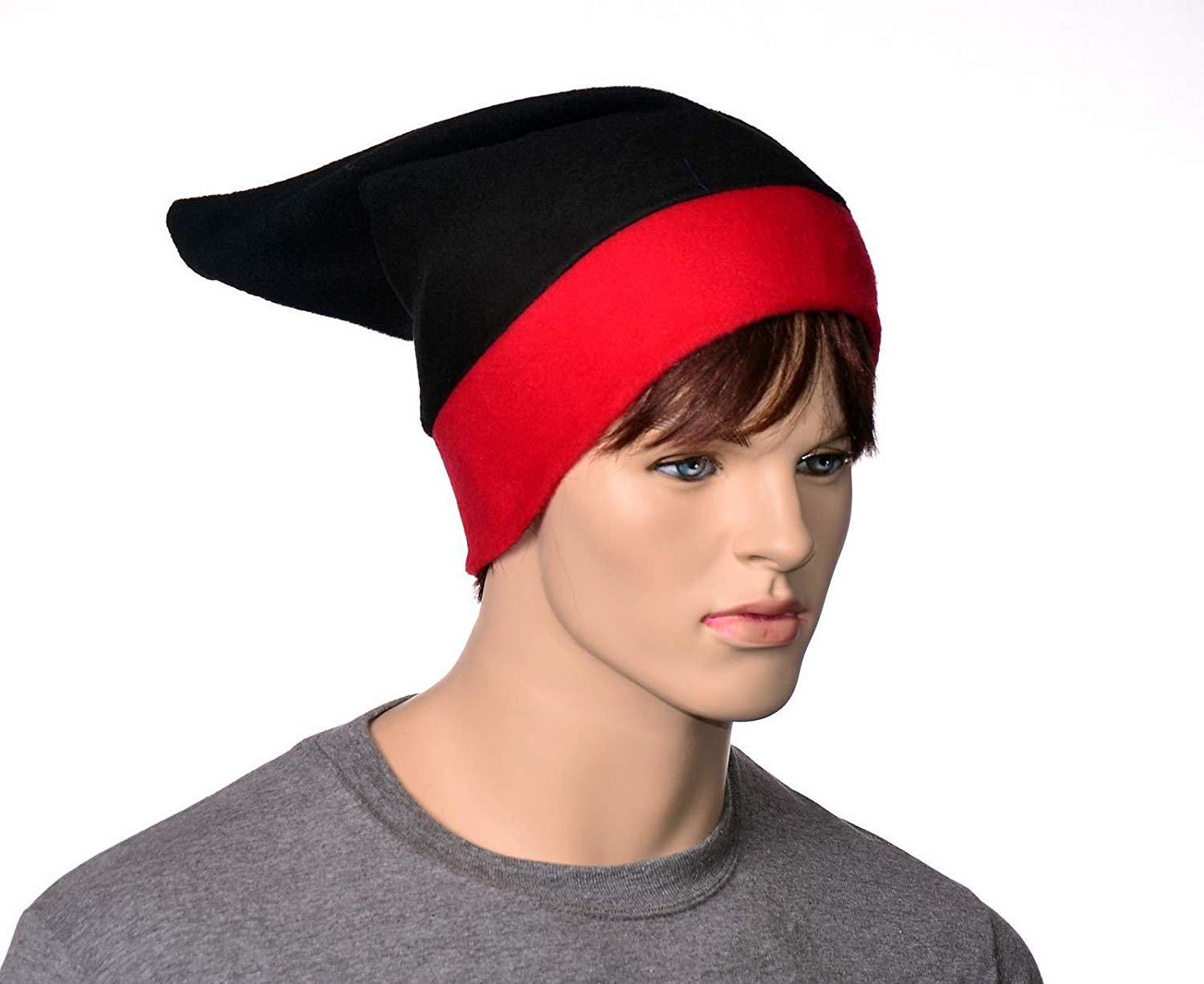 e402a58a626 Get Quotations · Elf Hat in Gothic Red and Black Pointed Fleece Beanie