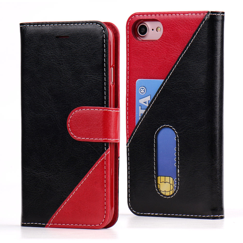 For iPhone 7 wallet covers OEM/ODM PU+TPU leather flip cell phone case