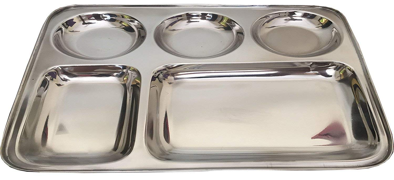 Stainless Steel Rectangle Thali,Steel Five Compartment Rectangle Plate ,Thali,Mess Tray,Dinner Plate,steel plate with partition,thali Plate,stainless steel plate,dinner plate,steel lunch plate