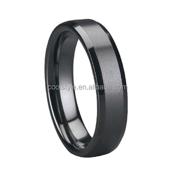 6mm womens fashion jewelry rings Satin finished Beveled edges anniversary rings for female