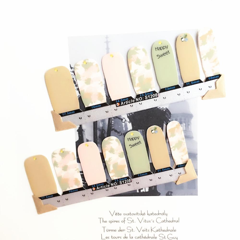 Happy Sweet Graffiti Nail Arts Stickers 14 pcs set Full Tape Patch Waterproof Foils Decals Polish