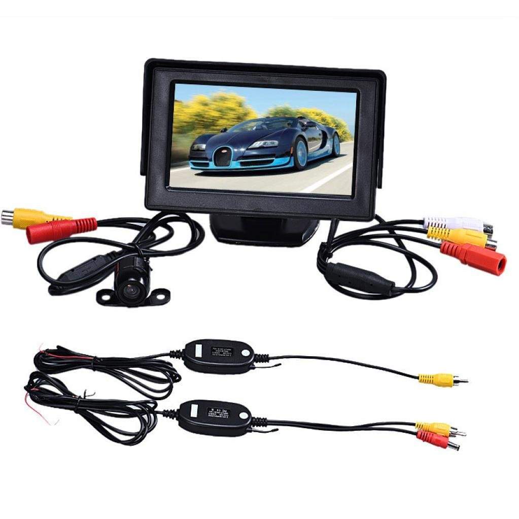 Get Quotations · Ecosin Fashion 4.3 Inch TFT LCD Monitor+Car Reverse  Rearview Back Up Camera Wireless Kit