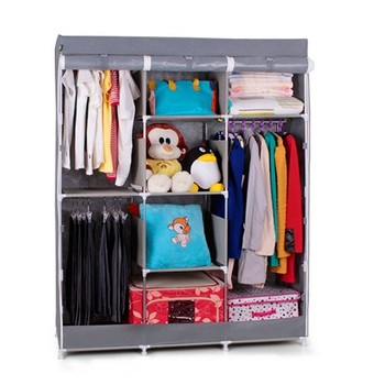 Assemble Portable Clothing Storage Folding Wardrobe With Steel Pipe