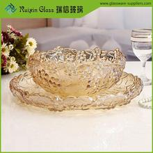 China glassware factory plum fruit plate set,family use fruit plate set for upscale restaurant