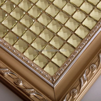 Royllent golden select mosaic wall tile with 13 face Hangzhou iridescent glass mosaic