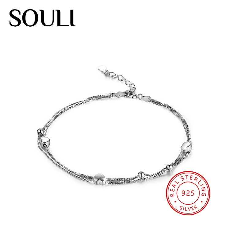 Wholesale Heart Jewelry Anklet Bracelet 925 Sterling Silver Bead Anklet in Rhodium Plated