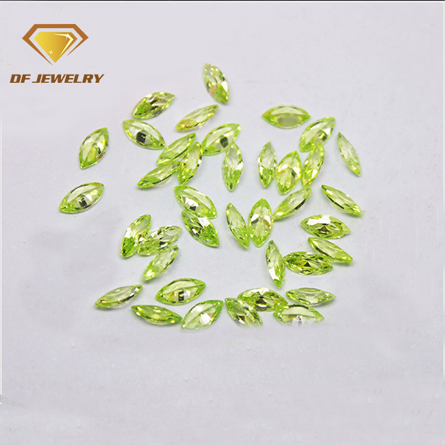 Marquise Cut Apple Green Color Chart Gems Cubic Zirconia Stone HongKong