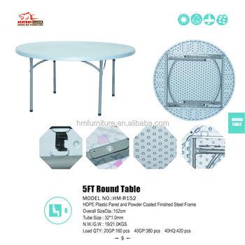 8 Seats 5ft Round Plastic Folding Table Wholesale From China