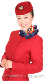 New style flight attendant uniforms, made of 65% polyester and 35% viscose