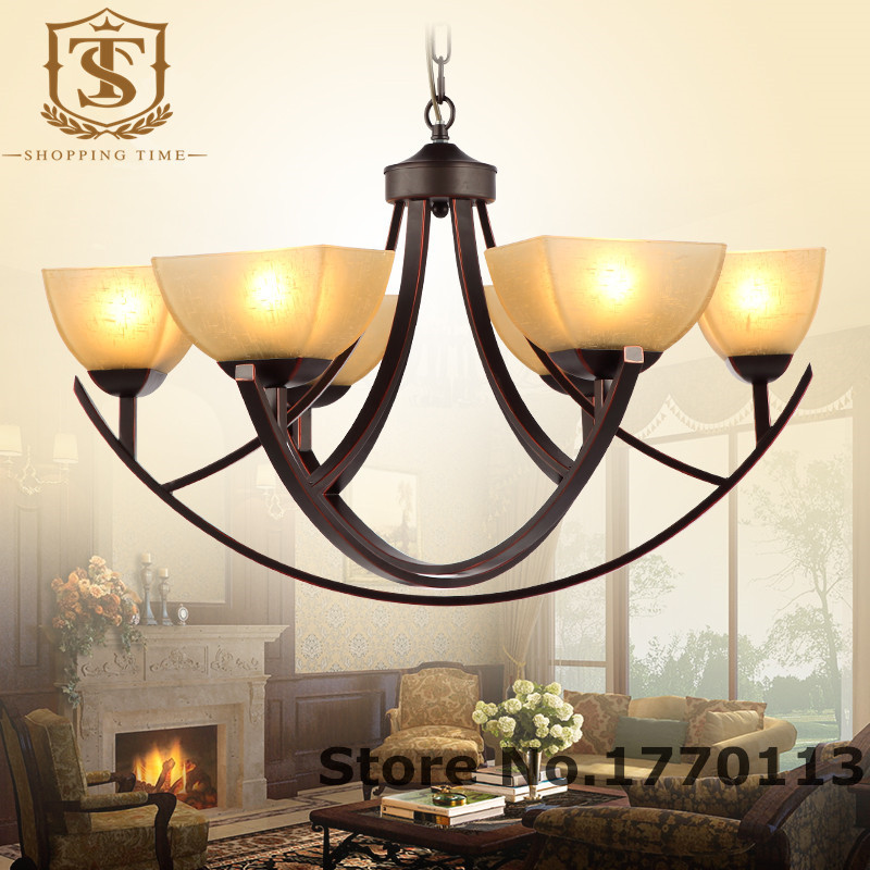 American Country Style Led Iron Chandelier Glass Shade 6