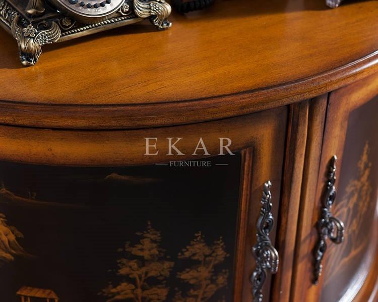 Vintage Classic 3 Legs Half Moon Shape Furniture Cabinet